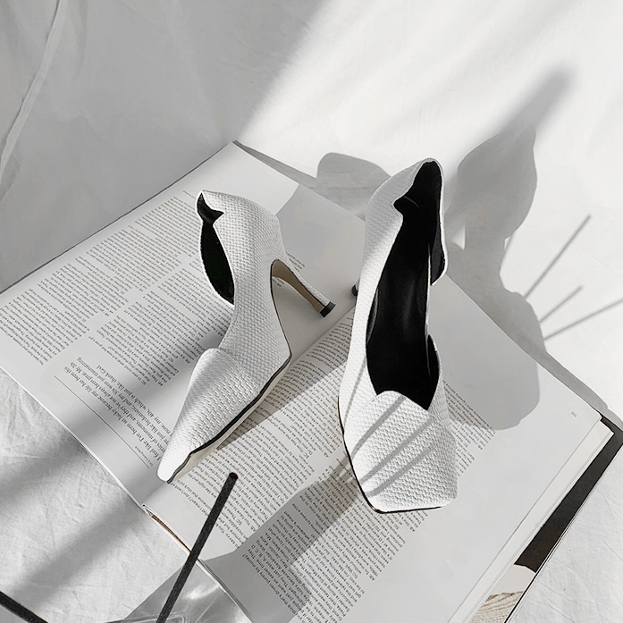 DABAGIRL平头侧空编织感高跟鞋