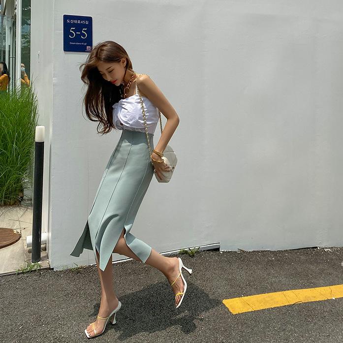 DABAGIRL不对称开衩摆缝线纯色半身裙
