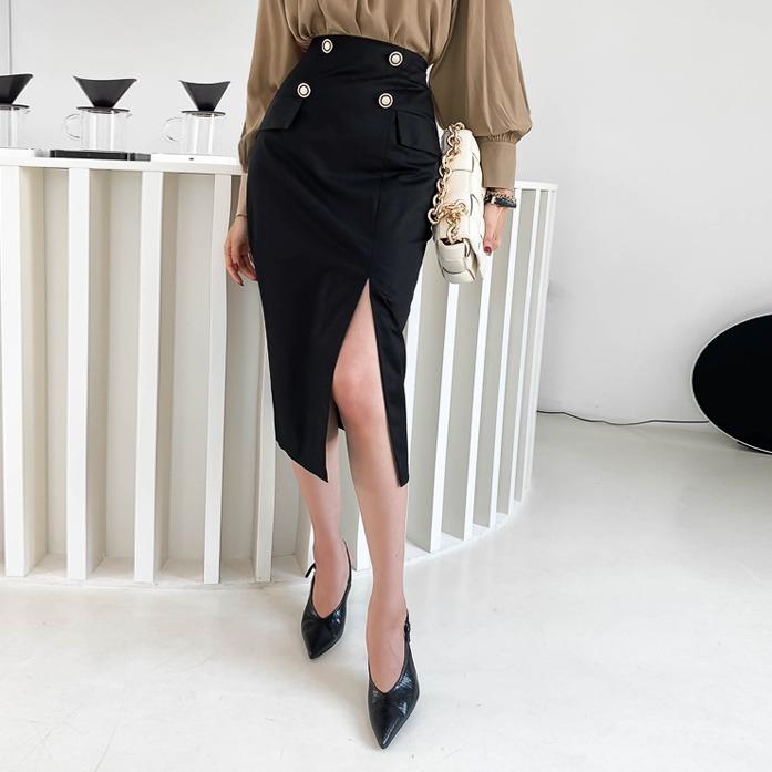 DABAGIRL开衩摆双排扣饰H版半身裙