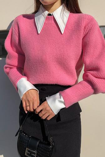 볼루밍컬러니트_D4KN 스타일리쉬 여성니트 옐로우 레드 핑크 페미닌룩 라운드넥 볼륨니트 퍼프니트 오피스룩 하객룩 하객패션 데이트룩 데일리 세련된 30대여성쇼핑몰 20대여자쇼핑몰 키작은여자쇼핑몰 여성의류쇼핑몰