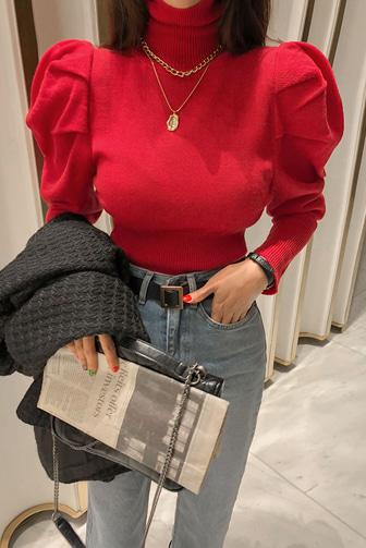 비앤셔링니트_D4KN 스타일리쉬 여성스러운 오피스룩 레드 블랙 아이보리 퍼프소매 슬림한 블륨감 하객룩 겨울 니트 따뜻한 데이트룩 데일리 세련된 30대여성쇼핑몰 20대여자쇼핑몰 키작은여자쇼핑몰 여성의류쇼핑몰