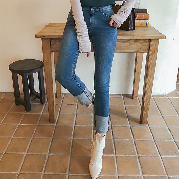 Dabagirl Raw Hem Straight Cut Jeans