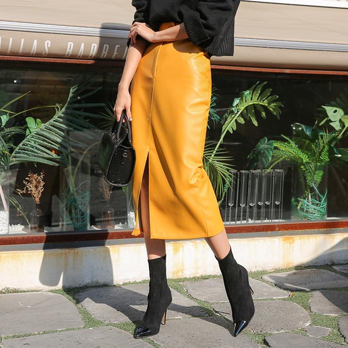 Dabagirl Slit Hem Faux Leather Skirt