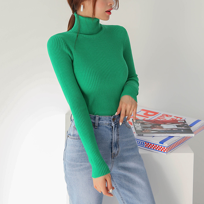 Dabagirl Foldover Turtleneck Slim Fit Knit Top