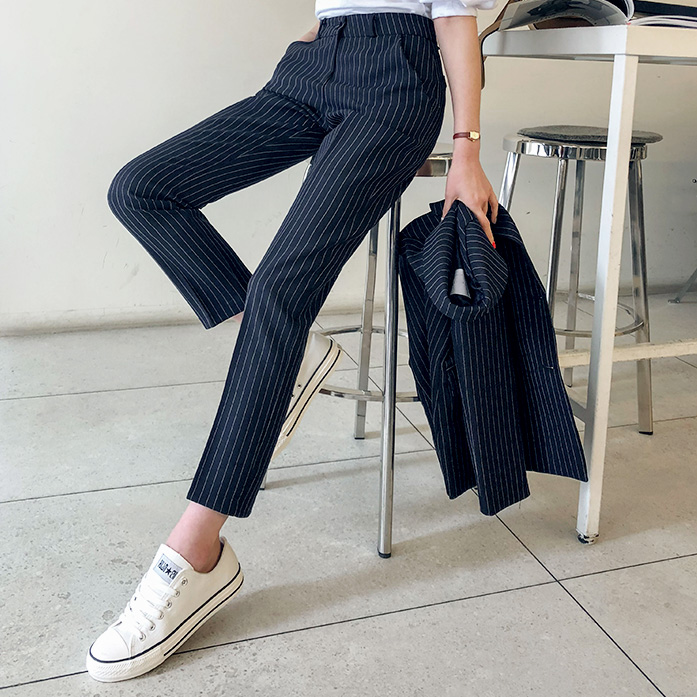 Dabagirl Straight-Cut Pinstripe Slacks