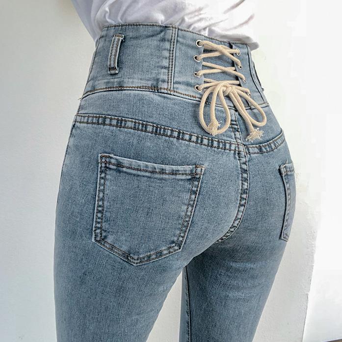 Dabagirl Lace-Up Back High Waist Jeans