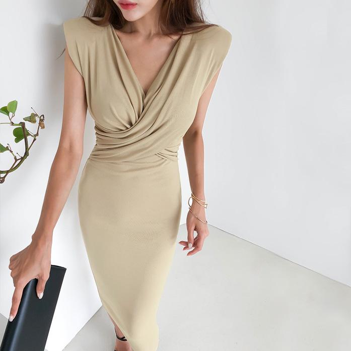Dabagirl Surplice Neck Slim Fit Midi Dress