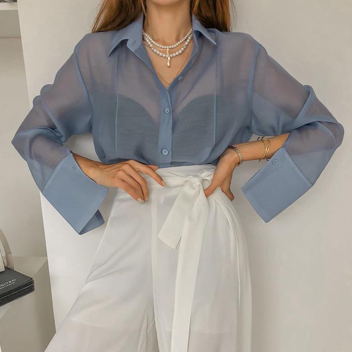Dabagirl Sheer Buttoned Front Shirt