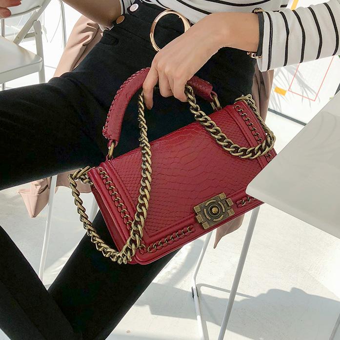 Dabagirl Chain-Accented Leatherette Shoulder Bag