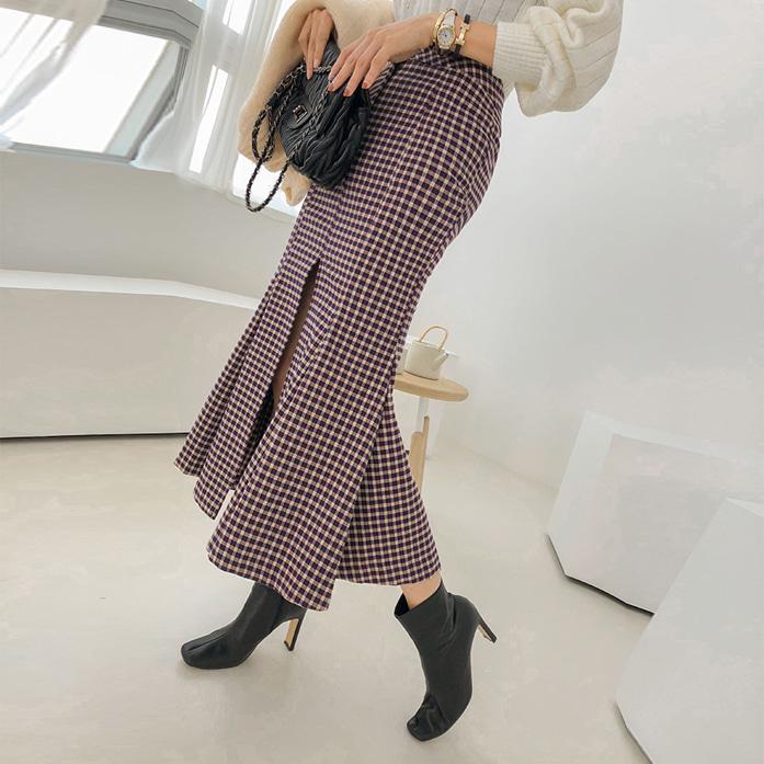 Dabagirl Front Slit Pleated Check Skirt