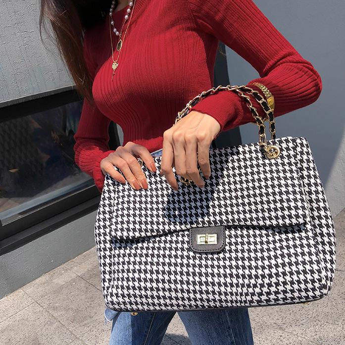 Dabagirl Houndstooth Check Flap Bag