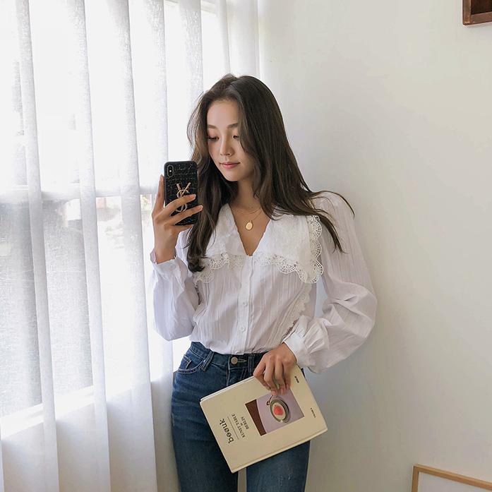 Dabagirl Lace Trim Button-Up Blouse