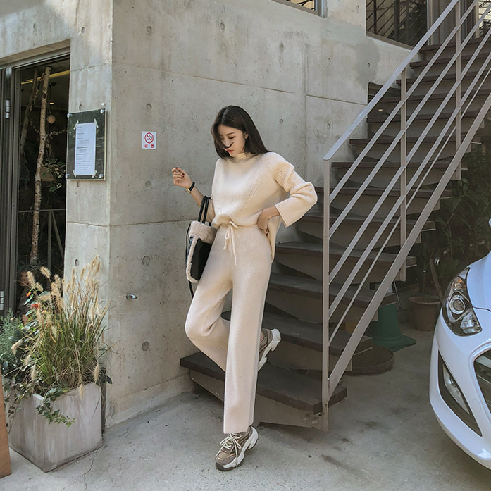 Dabagirl Knitted Step Hem Sweater and Pants Set