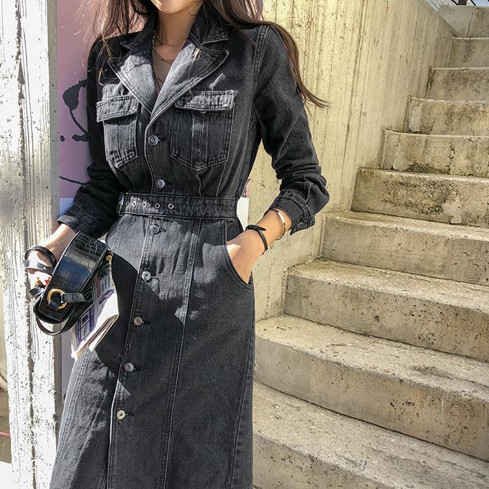 Dabagirl Belted Button-Up Denim Dress