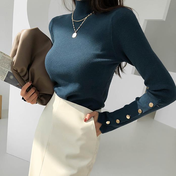 Dabagirl Buttoned Sleeve Mock Neck Knit Top