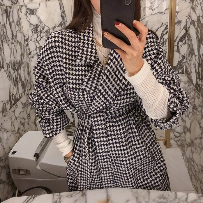 Dabagirl Houndstooth Tie-Waist Long Coat