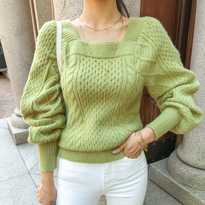 Dabagirl Square Neck Cable Knit Top