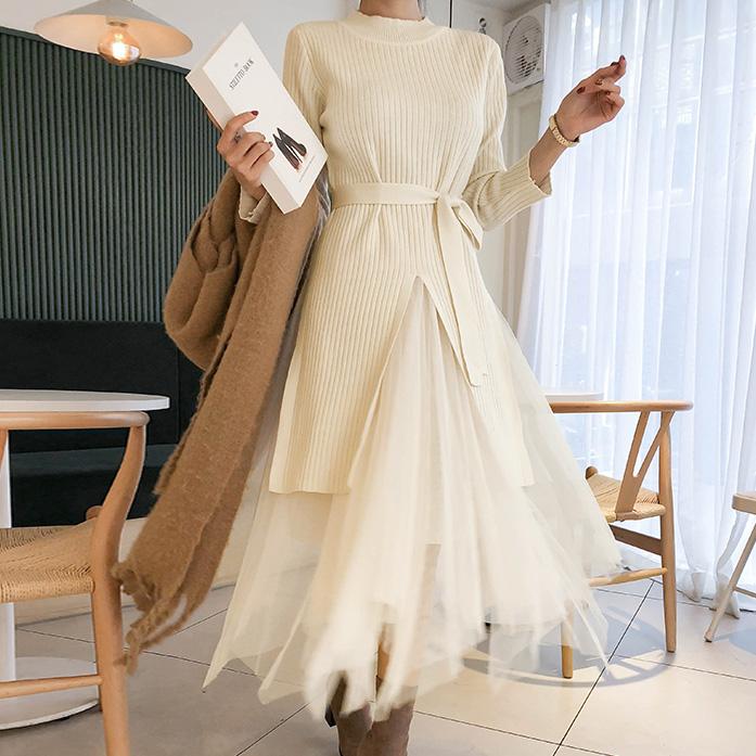 Dabagirl Long Knit Top and Mesh Skirt Set