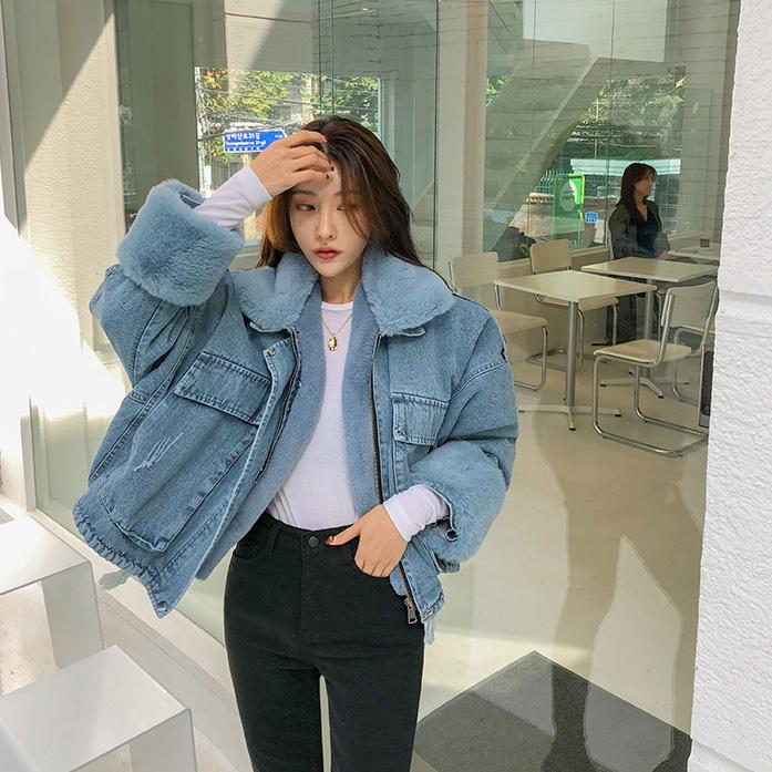 Dabagirl Fuzzy Lining Denim Jacket