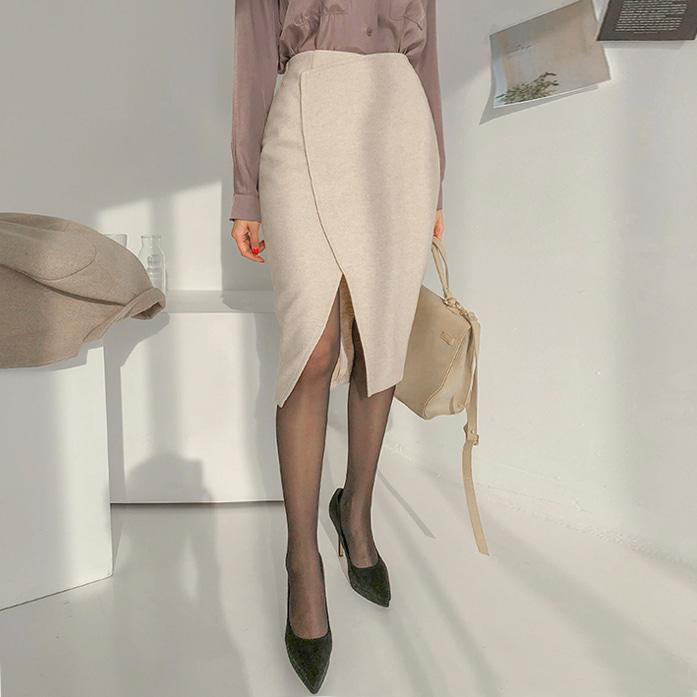 Dabagirl Cutout Hem Pencil Skirt