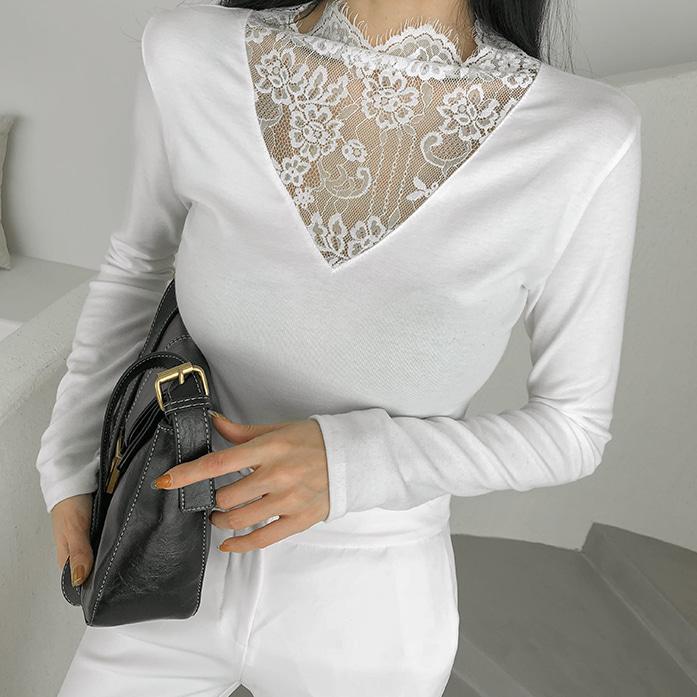 Dabagirl Sheer Lace Panel T-Shirt