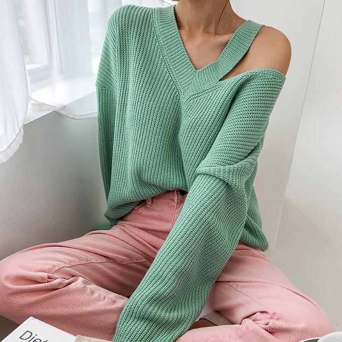 Dabagirl Cutout Shoulder V-Neck Sweater