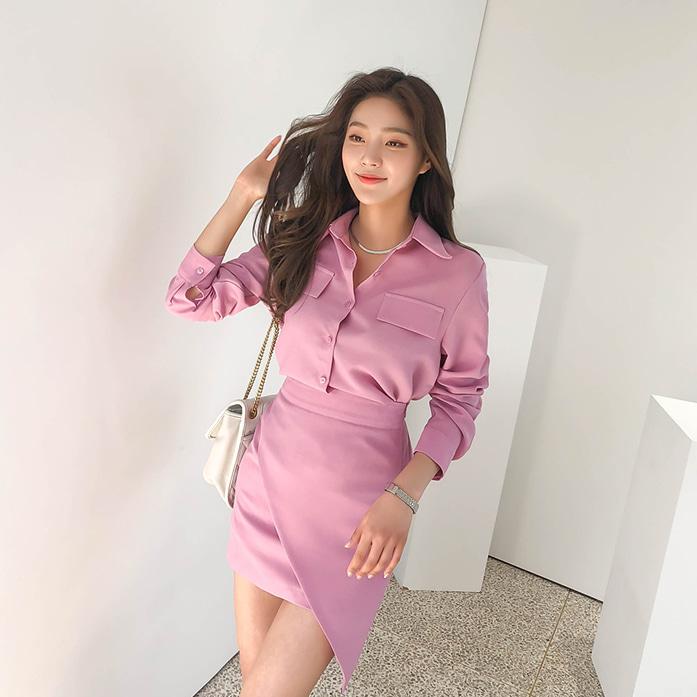Dabagirl Dip Hem Shirt and Asymmetric Skirt Set