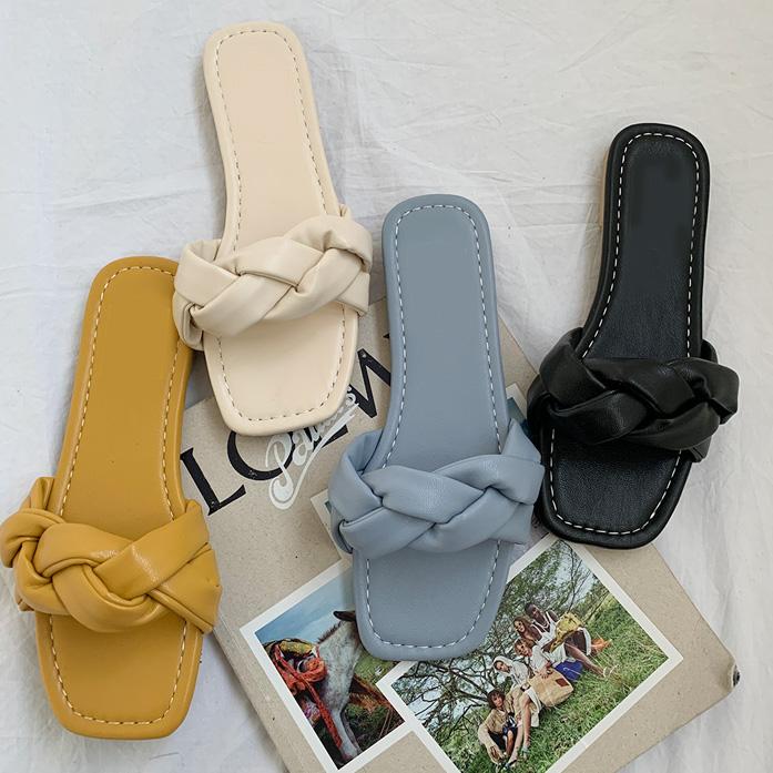 Dabagirl Braided Strap Slide Sandals
