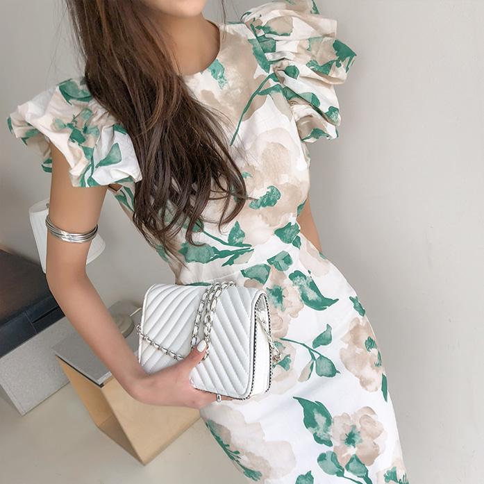 Dabagirl Watercolor Print Slim Fit Dress
