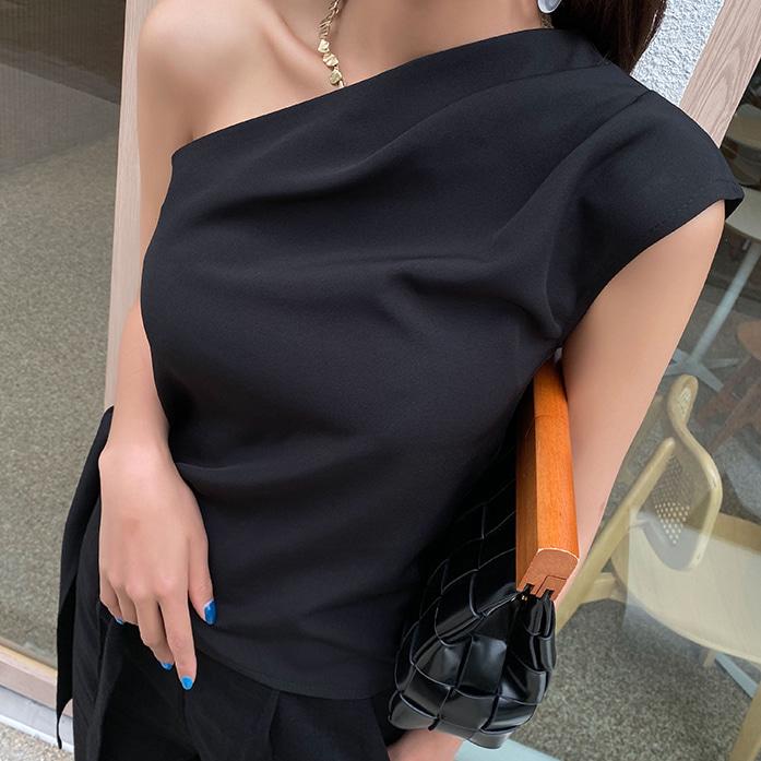 Dabagirl One-Shoulder Tie-Hem Top