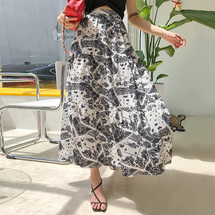 Dabagirl Flared Paisley Print Skirt