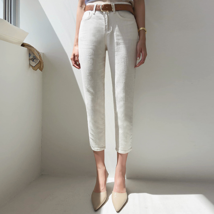 Dabagirl Straight-Cut Cropped Cotton Pants