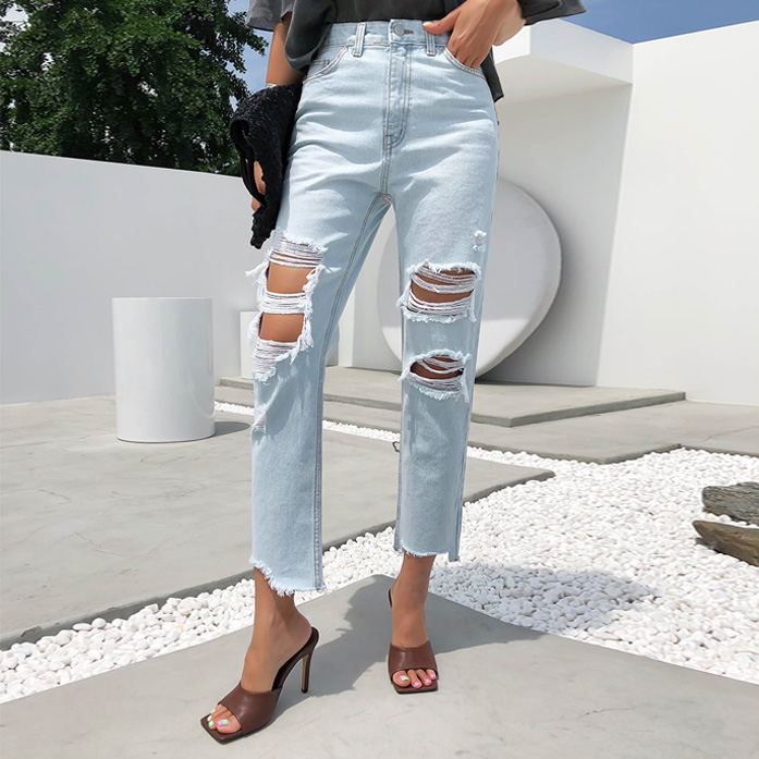 Dabagirl Asymmetric Hem Distressed Jeans