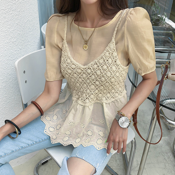 Dabagirl Puff Sleeve Blouse and Sleeveless Top Set
