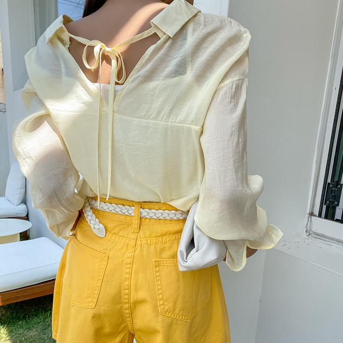 Dabagirl Sheer Shirt and Camisole Set