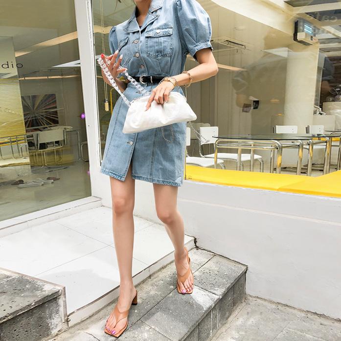 Dabagirl Button-Front Mini Denim Dress