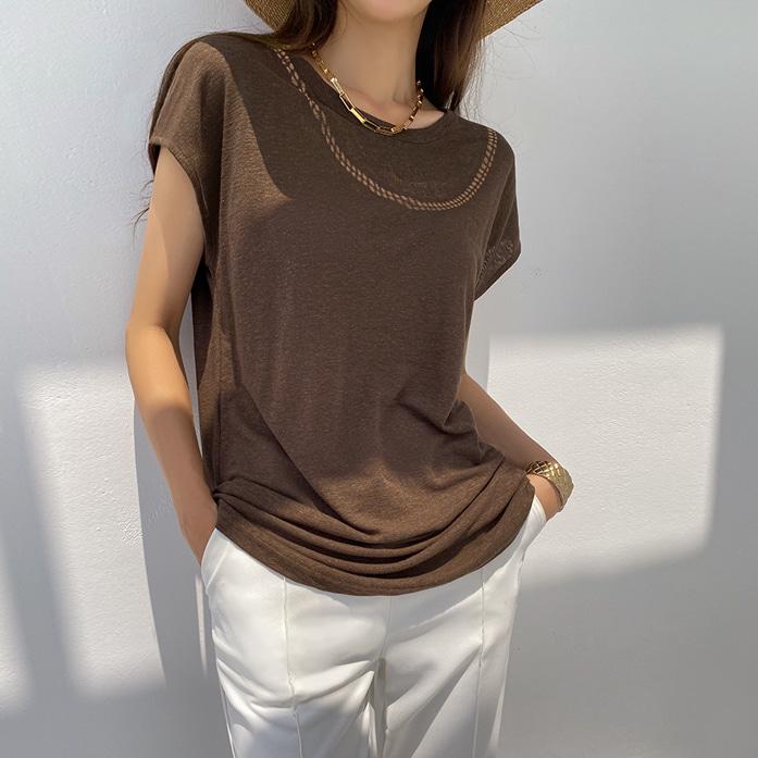 Dabagirl Cap Sleeve Linen Blend T-Shirt