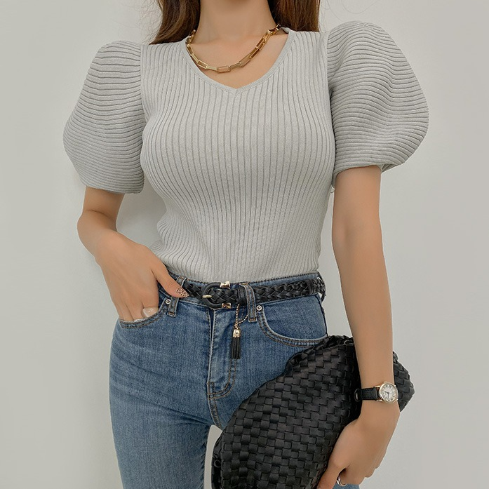 Dabagirl Puff Sleeve Ribbed Solid Tone T-Shirt