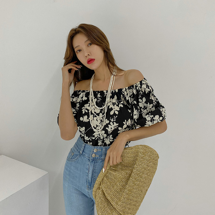 Dabagirl Puff Sleeve Off-Shoulder Floral Blouse