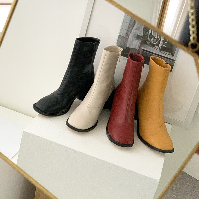 Dabagirl Chunky Heel Side Zip Ankle Boots