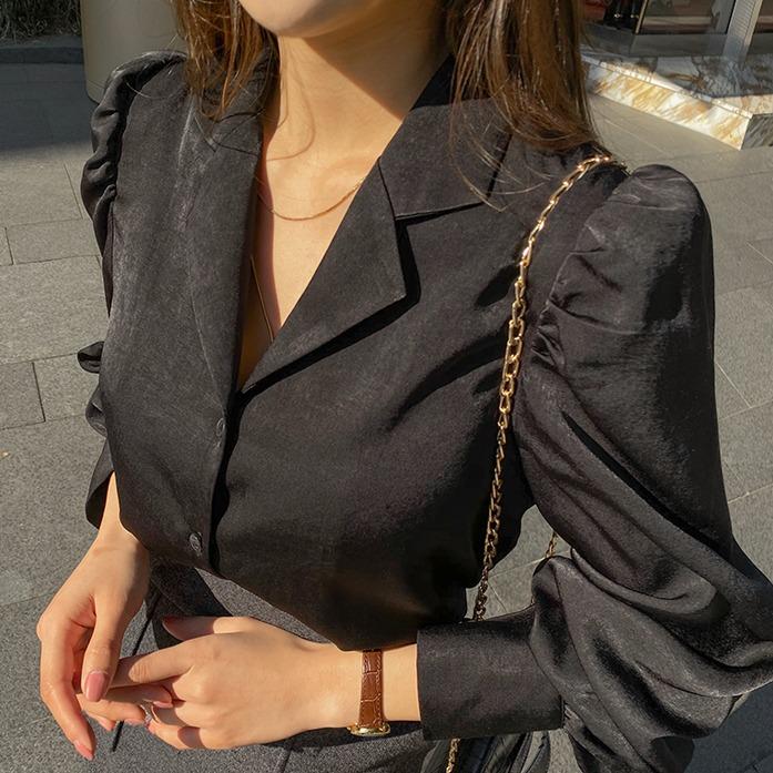 Dabagirl Notch Collar Puff Sleeve Blouse