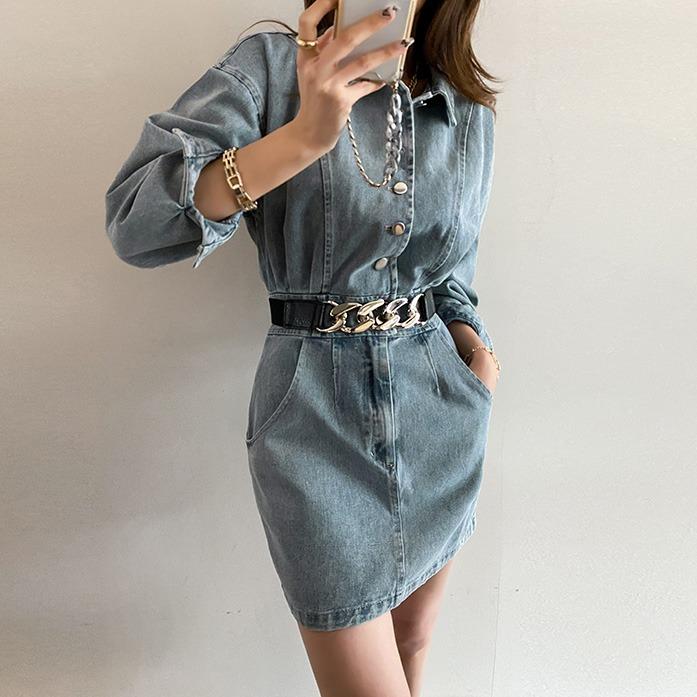 Dabagirl Collared Mini Denim Dress