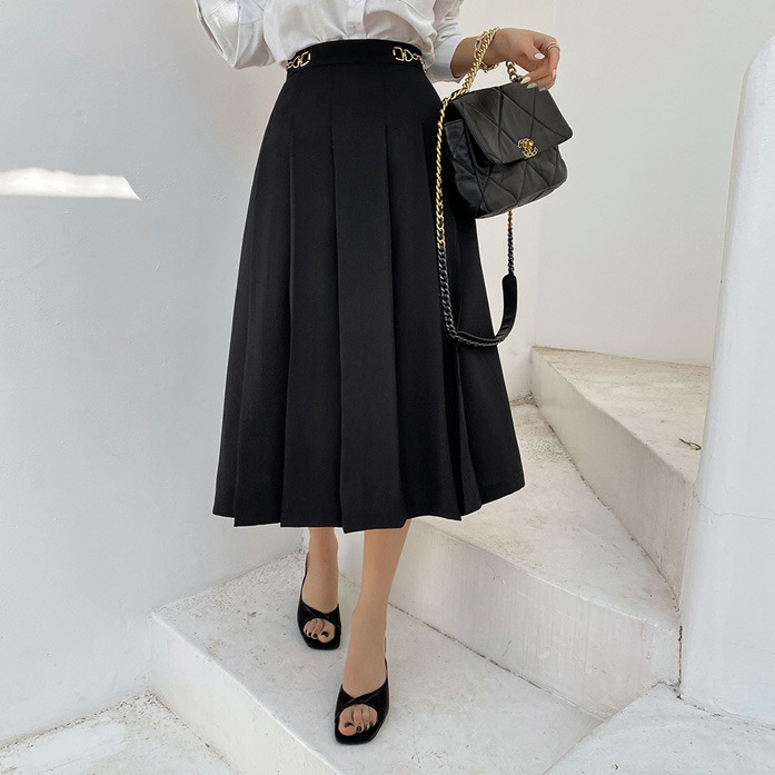 Dabagirl Chain Accent Pleated Midi Skirt