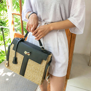 Dabagirl Contrast Color Straw Bag