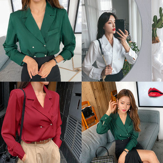 Dabagirl Notch Collar Double Breasted Blouse