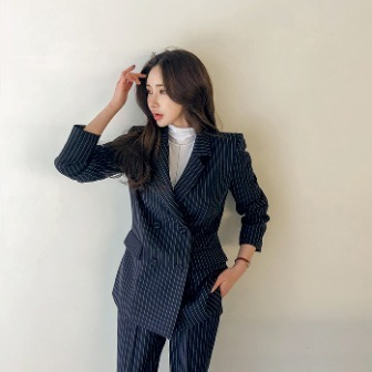 Dabagirl Double-Breasted Pinstripe Blazer