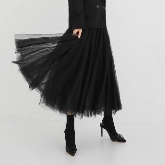 Dabagirl Elastic Waist Mesh Layer Skirt