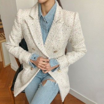 Dabagirl Peak Lapel Tweed Jacket