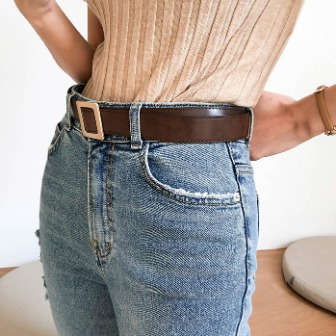 Dabagirl Metal Square Buckle Belt