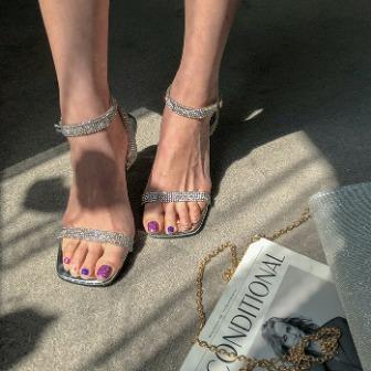 Dabagirl Silver Tone Ankle Strap Sandals